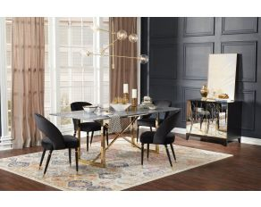 Sale Coaster Furniture Arcade Rectangular Dining Table In Black Sunny Gold 109211