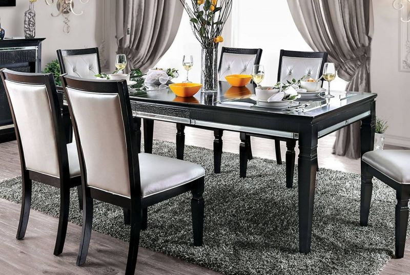 Shop Furniture Of America Alena Dining Table In Black Silver Cm3452bk T